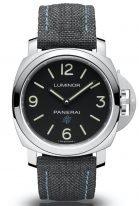 Мужские спортивные часы Panerai Luminor-PAM00774 в стальном корпусе, на черном циферблате люминесцентные цифры, метки и стрелки, черный тканевый ремешок.