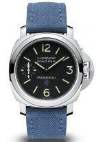 Мужские спортивные часы Panerai Luminor-PAM00777 в стальном корпусе, на черном циферблате люминесцентные цифры, метки и стрелки, голубой текстильный ремешок.
