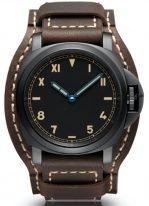 Мужские спортивные часы Panerai Luminor-PAM00779 в титановом корпусе с покрытием DLC, черный циферблат с арабскими и римскими цифрами, метками и стрелками, коричневый телячий ремешок.