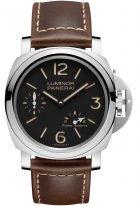Мужские наручные часы Panerai Luminor-PAM00795с запасом хода в стальном корпусе, на черном циферблате люминесцентные цифры, метки и стрелки, коричневая телячья кожа.