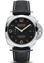 Мужские спортивные часы Panerai Luminor-PAM01359 в стальном корпусе, на черном циферблате люминесцентные цифры, метки и стрелки, черная телячья кожа.