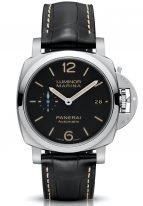 Мужские спортивные часы Panerai Luminor-PAM01392 в стальном корпусе, на черном циферблате люминесцентные арабские цифры, метки и стрелки, черный ремешок кроко.
