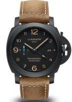 Мужские спортивные часы Panerai Luminor-PAM01441 со временем второго часового пояса в корпусе из черной керамики, на черном циферблате люминесцентные арабские цифры и стрелки, бежевый телячий ремешок.