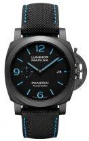 Мужские спортивные часы Panerai Luminor PAM01661 в карбоновом корпусе, на черном циферблате люминесцентные цифры и стрелки, текстильный черный ремешок