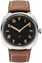 Мужские часы Panerai Radiomir-PAM00424 в стальном корпусе, на черном циферблате люминесцентные арабские, римские цифры и метки, бежевый телячий ремешок.