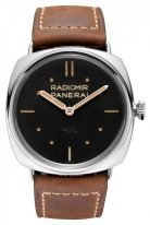 Мужские часы Panerai Radiomir-PAM00425 в стальном корпусе, на черном циферблате люминесцентные метки и стрелки, бежевая телячья кожа