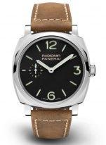 Мужские наручные часы Panerai Radiomir PAM00574 в стальном корпусе, на черном циферблате люминесцентные цифры, метки и стрелки, бежевая кожа.