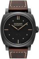 Мужские спортивные часы Panerai Radiomir-PAM00577 корпус из черной керамики, черный циферблат с люминесцентными точками, метками и стрелками, коричневая телячья кожа.