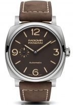 Мужские часы Panerai Radiomir-PAM00619 в титановом корпусе, на коричневом циферблате люминесцентные цифры, метки, стрелки, телячья кожа цвета экрю.