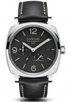 Мужские часы Panerai Radiomir-PAM00628 со временем второго часового пояса в стальном корпусе, черный гильошированный циферблат, черная телячья кожа.