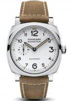 Мужские часы Panerai Radiomir-PAM00655 в стальном корпусе, на белоснежном циферблате черные арабские цифры и люминесцентные метки, бежевая телячья кожа.