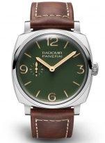 Мужские наручные часы Panerai Radiomir PAM00995 в стальном корпусе, матовый зеленый циферблат, коричневая телячья кожа