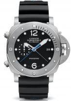 Мужские спортивные часы Panerai Submersible PAM00614 хронограф в титановом корпусе, на черном циферблате люминесцентные метки и стрелки, черный каучук.