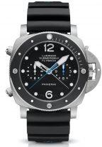 Мужские спортивные часы Panerai Submersible PAM00615 хронограф в титановом корпусе с керамическим рантом, черный циферблат с люминесцентными метками и стрелками, черный каучук.