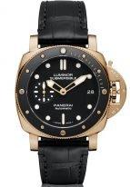 Мужские спортивные часы Panerai Submersible-PAM00684 в розовом золоте с керамическим рантом, черный циферблат с люминесцентными метками и стрелками, черная кожа кроко.