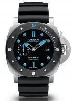 Мужские спортивные часы Panerai Submersible PAM00799 в прочном металлическом стекле, устойчивым к коррозии, а безель из Carbotech, на черном циферблате люминесцентные метки и стрелки, черный каучук.