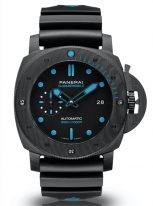Мужские спортивные часы Panerai Submersible PAM00960 в карбоновом корпусе, черный циферблат с люминесцентными метками и стрелками, черный каучук.
