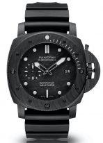 Мужские спортивные часы Panerai Submersible PAM00979 в карбоновом корпусе, циферблат черный с углеродсодержащим покрытием, черный каучук.