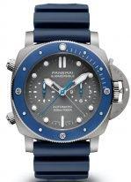 Мужские спортивные часы Panerai Submersible PAM00982 хронограф в титановом корпусе с керамическим безелем, серый циферблат с люминесцентными метками и стрелками, синий каучук.