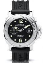 Мужские спортивные часы Panerai Submersible-PAM01024 в стальном корпусе, на черном циферблате люминесцентные метки и стрелки, черный каучук.