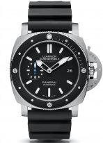 Мужские спортивные часы Panerai Submersible-PAM01389 антимагнитные в титановом корпусе с керамическим безелем, черный циферблат с люминесцентными стрелками и метками, черный каучук.