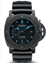 Мужские спортивные часы Panerai Submersible PAM01616 в карбоновом корпусе, черный циферблат с голубыми люминесцентными метками и стрелками, черный каучук.
