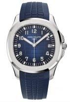 Мужские спортивные часы Patek Philippe Aquanaut 5168G-001 в белом золоте с синим рельефным циферблатом и синим каучуком.