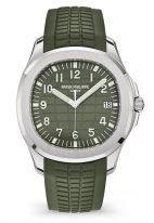 Мужские спортивные часы Patek Philippe Aquanaut 5168G-010 в белом золоте с рельефным циферблатом цвета хаки и каучуковым ремешком.