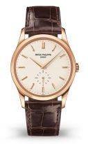 Мужские классические часы Patek Philippe Calatrava 5196R-001 в розовом золоте, серебристо-опаловый циферблат, кожа кроко.