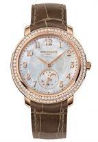Женские классические часы Patek Philippe Complications 4968R-001 в розовом золоте с бриллиантовым рантом, перламутровым циферблатом, кожа кроко.