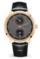 Мужские классические часы Patek Philippe Complications 5235-50R-001 в розовом золоте, годовой календарь, регулятор, графитово-черный циферблат, кожа кроко.