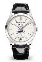 Мужские классические часы Patek Philippe Complications 5396G-011 в белом золоте с годовым календарем, серебристый циферблат, кожа кроко