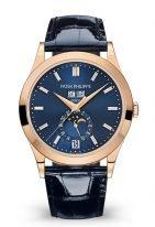 Мужские классические часы Patek Philippe Complications 5396R-015 в розовом золоте, с годовым календарем и фазами Луны, синий циферблат, кожа кроко.