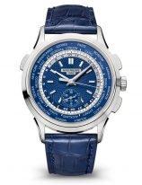 Мужские классические часы Patek Philippe Complications 5930G-010 в белом золоте, с функцией мирового времени, синий циферблат, синяя кожа кроко.