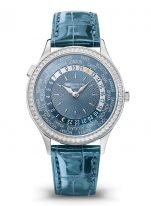 Женские классические часы Patek Philippe Complications 7130G-016 в белом золоте с бриллиантовым рантом, мировое время, синий циферблат, синяя кожа кроко.