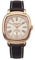 """Женские классические часы Patek Philippe Gondolo 7041R-001 в розовом золоте, форма """"подушки"""", светлый циферблат с бриллиантами, коричневый кроко."""