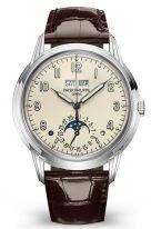 Мужские классические часы Patek Philippe Grand Complications 5320G-001 в белом золоте, вечный календарь с фазами Луны, кремовый циферблат, шоколадная кожа кроко.