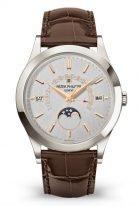 Мужские классические часы Patek Philippe Grand Complications 5496P-015 в платиновом корпусе, вечный календарь с ретроградной датой, фазами Луны, коричневая кожа.