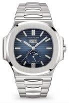 Мужские спортивные часы Patek Philippe Nautilus 5726-1A-014 в стальном корпусе, годовой календарь с фазами Луны, синий циферблат, стальной браслет.
