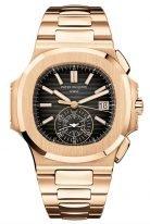 Мужские спортивные часы Patek Philippe Nautilus 5980-1R-001 в розовом золоте, хронограф, с черным циферблатом, браслет из розового золота.