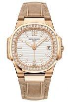 Женские спортивные часы Patek Philippe Nautilus 7010R-011 в розовом золоте, золотистый циферблат, кожа кроко.