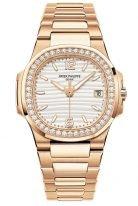 Женские спортивные часы Patek Philippe Nautilus 7010-1R-011 в розовом золоте, золотистый циферблат, браслет из розового золота.