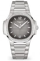 Женские спортивные часы Patek Philippe Nautilus 7118-1200A-011 в стальном корпусе с бриллиантовым рантом, серый циферблат, стальной браслет.