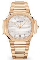 Женские спортивные часы Patek Philippe Nautilus 7118-1R-001 в розовом золоте, светлый циферблат, браслет из розового золота.