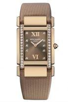 Женские классические часы Patek Philippe Twenty4 4920R-001 в розовом золоте с бриллиантами, коричневый циферблат, коричневый сатин.