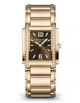 Женские классические часы Patek Philippe Twenty4 4910-1201r-001 в розовом золоте с бриллиантами, шоколадный циферблат, браслет из розового золота.