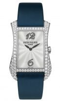 Женские классические часы Patek Philippe Gondolo 4972G-001 в белом золоте с бриллиантами, перламутровый циферблат, сатиновый ремешок.