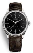 Мужские классические часы Rolex Cellini 50 509 в белом золоте, черный циферблат, на кожаном ремешке.