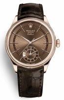 Мужские классические часы Rolex Cellini 50 525 в розовом золоте, коричневый циферблат, на кожаном ремешке.