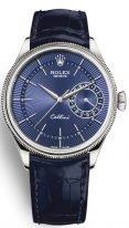 Мужские классические часы Rolex Cellini 50 519 в белом золоте с датой, синий циферблат, на кожаном ремешке.